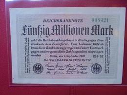 Reichsbanknote 50 MILLIONEN MARK 1923 VARIETE N°1 - [ 3] 1918-1933 : Repubblica  Di Weimar