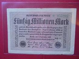 Reichsbanknote 50 MILLIONEN MARK 1923 VARIETE N°2 - [ 3] 1918-1933 : Repubblica  Di Weimar