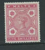 Malta Stamps Sg30 Hm  Victoria 5/- - Malta