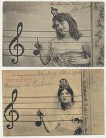 Lot 2 Cartes Les Notes De Musique N° 2 Et 4 - Phototypie Bergeret - Bergeret