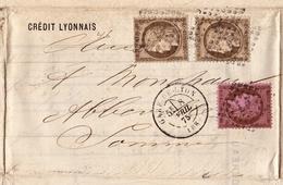 Lettre 1875 Crédit Lyonnais Lyon Abbeville Somme Timbre Cérès 30 Centimes + 10 Centimes - 1871-1875 Cérès