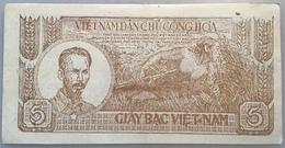 Vietnam ND (1948) 5 Dông BROWN COLOUR P. 17 RARE AU CONDITION(banknote Billet Viet Nam Paper Money Geldschein - Vietnam