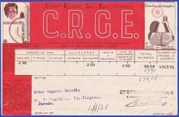 Portugal,1938 - Companhias Reunidas De Gaz E Electricidade, C.R.G.E. / Recibo - Portugal