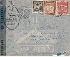 Chili 1944 - Hotel Cosmos Punta Arenas - Illustrée Manchot, Pingouin, Penguin, Pinguin - Lettre Passée Pas La Censure - Pingueinos