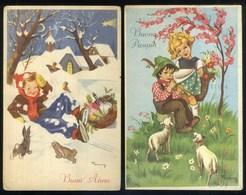 BUON NATALE - BUON ANNO - BUONA PASQUA - ILLUSTRATORE FANNY - 2 CARTOLINE - Natale