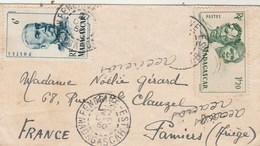 Madagascar  Yvert  307 + 314 Sur Lettre Cachet FENERIVE EST 27/12/1950 Pour Pamiers Ariège Verso Flamme Tamatave - Briefe U. Dokumente