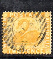 APR1668 - WESTERN AUSTRALIA  , 2 Penny Giallo Usato. Dent 14  (2380A) - Oblitérés