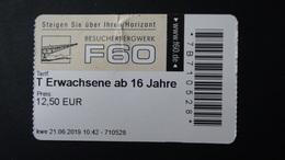 Germany - Ticket Beucherbergwerk F60 - Lichterfeld/Lausitz/Brandenburg - Used - Eintrittskarten