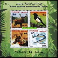 Tunisia 2018  MS  MNH Faune Terrestre Et Maritime Deer Jackal Fish Bird Magpie Bird Birds Poisson Oiseau Pie - Uccelli