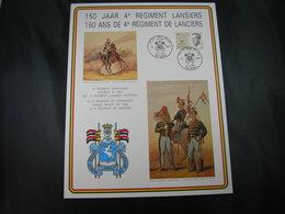 """BELG.1987 Militaire Herdenkingskaart """" LANCIERS """" Carte Commémorative Militaire - 1981-90"""