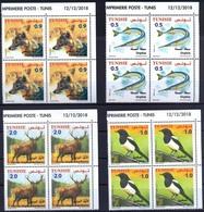 Tunisia 2018  MS 4 Blocks Of 4 V MNH Faune Terrestre Et Maritime Deer Jackal Fish Bird Magpie Bird Birds Poisson Oiseau - Uccelli