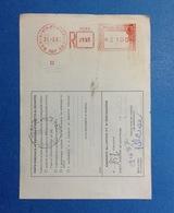 1987 AFFRANCATURA MECCANICA ROSSA EMA RED SU BOLLETTINO PACCHI BARI 6 VIA POSTIGLIONE - Affrancature Meccaniche Rosse (EMA)