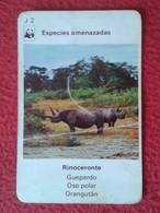 SPAIN ANTIGUO CROMO RARE OLD COLLECTIBLE CARD CARTA DE BARAJA O SIMIL RINOCERONTE RHINO RHINOCEROS RHINOS RHINOCEROSES - Sin Clasificación