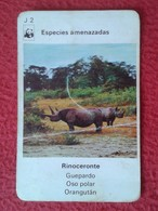 SPAIN ANTIGUO CROMO RARE OLD COLLECTIBLE CARD CARTA DE BARAJA O SIMIL RINOCERONTE RHINO RHINOCEROS RHINOS RHINOCEROSES - Cromos