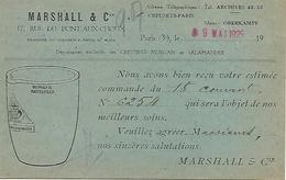 75 PARIS Ets MARSHALL 17 RUE DU PONT AUX CHOUX 75003 PARIS ENVOYEE LE 9 MAI 1925  ETAT IMPECCABLE - Arrondissement: 03