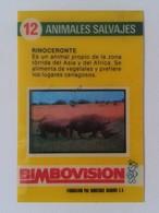 SPAIN ANTIGUO CROMO RARE OLD COLLECTIBLE CARD RINOCERONTE RHINO RHINOCEROS RHINOS RHINOCEROSES 3D O SIMIL BIMBOVISION - Cromos