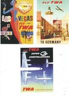 3 POSTCARDS  T.W.A  ADVERTISING ON POSTCARD - Sonstige