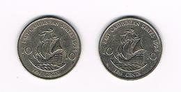 //  EAST  CARIBBEAN  TERRITORIES   2 X 10 CENTS  1994/95 - Colonies
