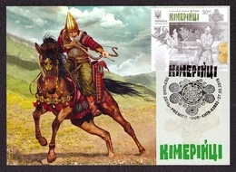 UKRAINE 2019 Maxi Card Block Cimmerians CULTURE Palaeology Archaeology Warrior Horse Weapon Military Uniform #516 - Ucraina