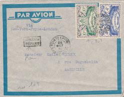 Lettre De Guadeloupe 1945, Timbre Série De Londres (CCF 127) - Guadeloupe (1884-1947)