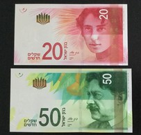ISRAEL SET 20, 50 SHEKELS BANKNOTES 2014-2017 UNC - Israel