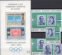Set 1965 Uruguay Blocks 6+10 Mit Bl.-M. ** 7€ Fußball Olympiade 1928 Bloque S/s Blocs Olympics M/s Sheets Of Soccer - Fußball-Weltmeisterschaft
