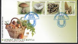 Armenia Karabakh Artsakh MNH** 2019 Mushrooms Set Mi 191-94  FDC - Pilze