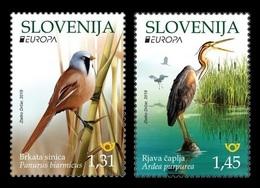 Slovenia 2019 Mih. 1367/68 Europa. National Birds. Fauna. Bearded Reedling And Purple Heron MNH ** - Slovénie