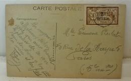2 Piastres Sur Merson  Et Sur Cpa Pensée De Salonique Cad Années 30 - Levant (1885-1946)