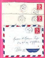 3 ENVELOPPES OBLITERATION HEXAGONALE PORTE AVIONS LAFAYETTE SUR GANDON 1956 / 1957 / 1958 - Marcophilie (Lettres)