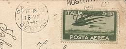 """LL. 5 POSTA AEREA VIAGGIATO SU CARTOLINA INTERNA - Timbro """" MOSTRA DEL 48 """" - VIAGGIATA 1948 - (rif. N96) - 1946-.. Republiek"""