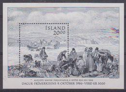 Iceland 1986 Painting Auguste Mayer / Crossing Hvita River M/s ** Mnh (43388) - Blokken & Velletjes