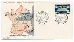 FDC France 1959 - Service Aéropostal De Nuit  - YT 1418 - Le Bourget - 1950-1959