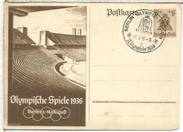ALEMANIA REICH 1936 ENTERO POSTAL JUEGOS OLIMPICOS DE 1936 BERLIN CON MAT ESTADIO OLIMPICO - Verano 1936: Berlin