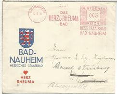 ALEMANIA 1934 BAD NAUHEIM CC FRANQUEO MECANICO BAÑOS CORAZON REUMA ENFERMEDAD AGUAS TERMALES - Termalismo