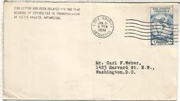 ESTADOS UNIDOS USA CC CON MAT LITTLE AMERICA 1934 WITH POSTMARK ON BACK AND DELAYED MAIL - Expediciones Antárticas
