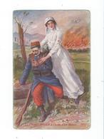Guerre 14-18 - Croix Rouge Aide Un Blessé 1914 - Circulé Vers Allemagne - Histoire