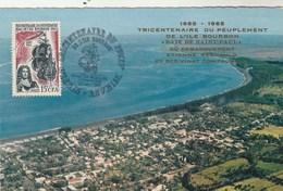 REUNION Carte Maximum Yvert 365 Tricentenaire Peuplement Ile Bourbon 3/10/1965 - Bateau - Illustration 6 - Covers & Documents