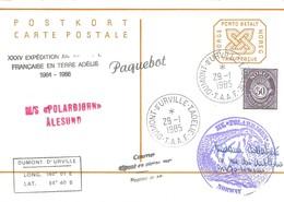 TAAF - Dumont D'Urville-T.Adélie : Entier Postal Norvège M/S Polarbjorn Avec Timbre N°715 Cor Postal  - 29/01/1985 - Terres Australes Et Antarctiques Françaises (TAAF)