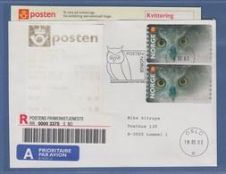 Norwegen 2002 ATM-Ausgabe Eule. Werte 26,00 Und 20,00 Auf R-FDC 18.3.02,  ET-AQ - ATM/Frama Labels