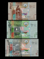 KUWAIT SET 1/4 1/2 1 DINARS BANKNOTES (2014) UNC - Koeweit