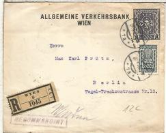 AUSTRIA WIEN CC CERTIFICADA A BERLIN 1923 - Cartas