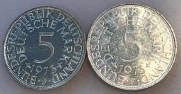 BRD 5 Mark 1973 J  Stg TOP ERHALTUNG + 1973 F Bankfrisch - (Deutschland Münze Monnaie Coin Germany Allemagne - [ 7] 1949-… : FRG - Fed. Rep. Germany