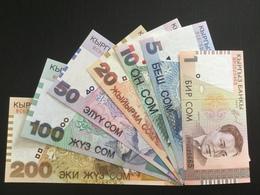 KYRGYZSTAN SET 1 5 10 20 50 100 200 SOM BANKNOTES 1997-2004 UNC - Kyrgyzstan