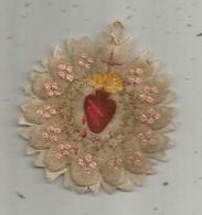 Médaillon Tissus , Image Religieuse , Pieuse , Coeur ,  QUE VOTRE REGNE ARRIVE ,2 Scans - Images Religieuses