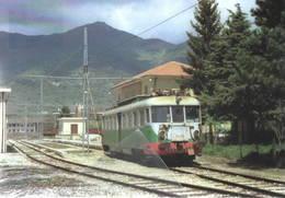 332 FAS ALn 10 OMS Stazione Di Castel Di Sangro L'Aquila Rairoad Treain Railweys Treni Rotabili - Gares - Avec Trains