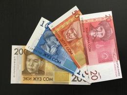 KYRGYZSTAN SET 20 50 100 200 SOM BANKNOTES 2009-2016 UNC - Kyrgyzstan