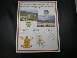 """BELG.1990 Militaire Herdenkingskaart """" Korea / Corée Volontaires """" Carte Commémorative Militaire - 1981-90"""