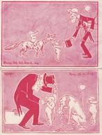 """2 CPA FOND ROUGE:""""GRIM"""" HOMME VALISE """"RF"""" ENFANT CHIEN OU LOUP LARMES,HOMME CHAPEAU COLLIER CHIEN """"SPQR""""ROME AVRIL 1904 - Autres Illustrateurs"""