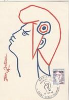 REUNION Carte Maximum Yvert 349A Marianne Cocteau 13/2/1966 - Illustration 1 - Lettres & Documents